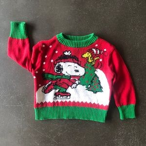 Peanuts ugly Christmas sweater snoopy red 12 month